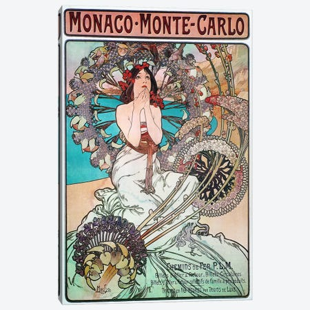 Monaco, Monte Carlo, 1897 Canvas Print #15167} by Alphonse Mucha Canvas Wall Art