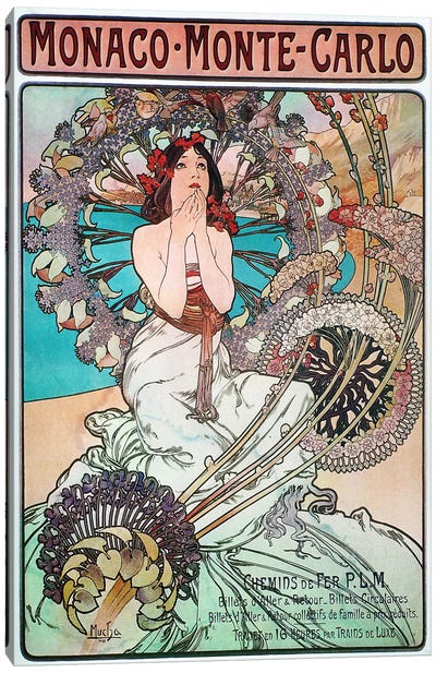 Monaco Monte Carlo (1897) by Alphonse Mucha Canvas Wall Art
