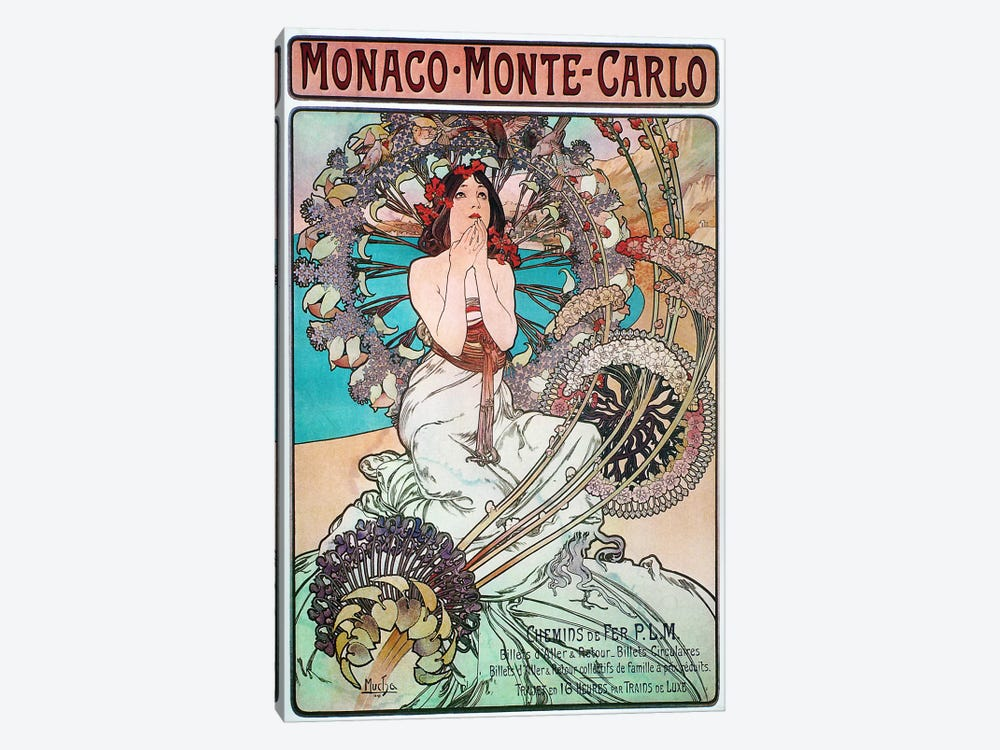 Monaco, Monte Carlo, 1897 by Alphonse Mucha 1-piece Canvas Art