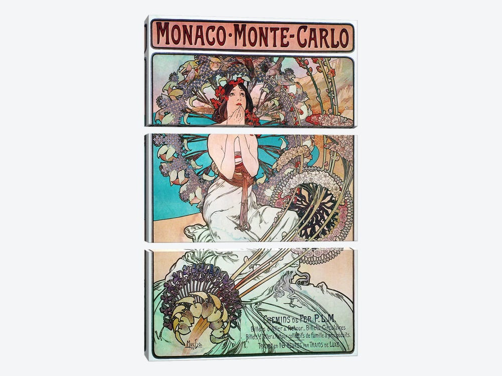 Monaco, Monte Carlo, 1897 by Alphonse Mucha 3-piece Canvas Art