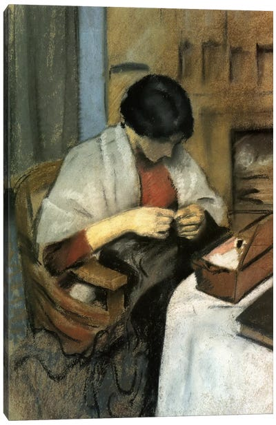Elisabeth Gerhardt Sewing by August Macke Art Print