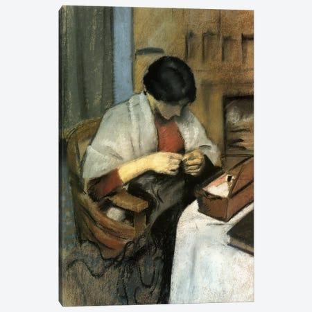 Elisabeth Gerhardt Sewing 3-Piece Canvas #1516} by August Macke Art Print