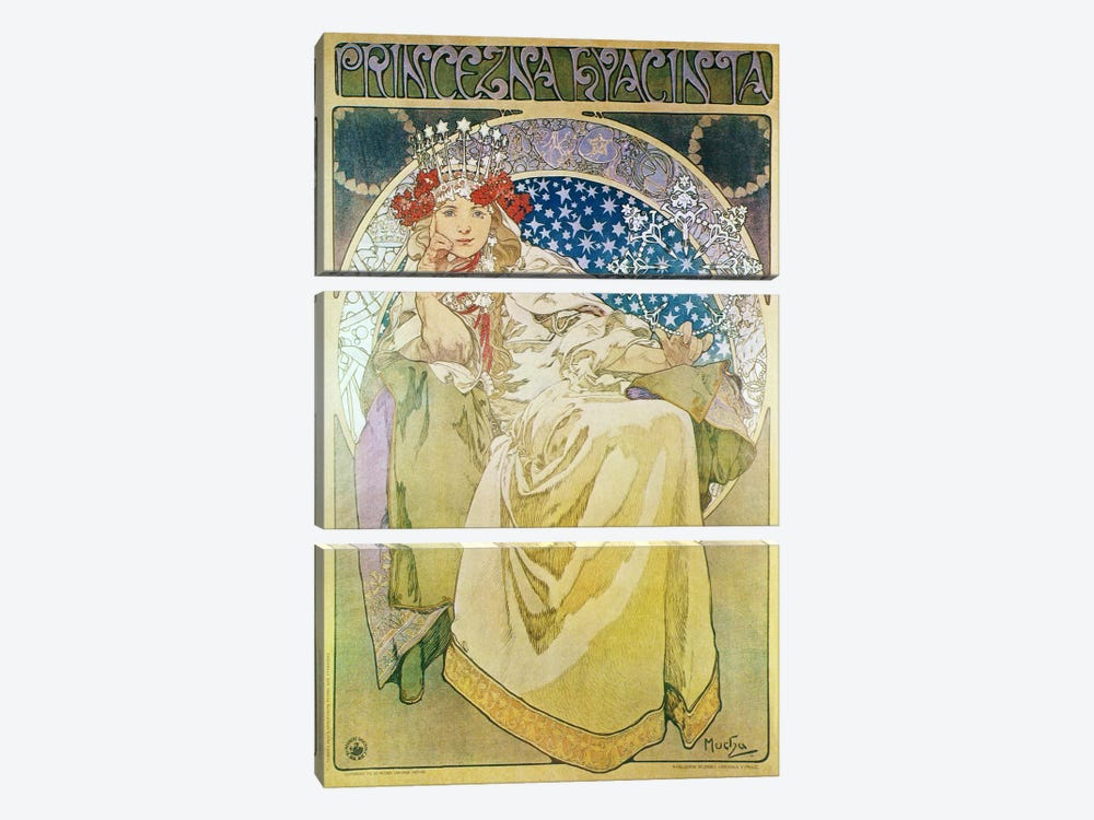 Princess Hyacinth (1911) by Alphonse Mucha 3-piece Canvas Art