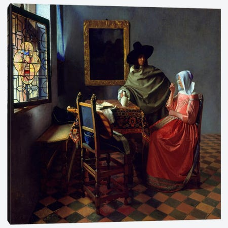 The Wine Glass Canvas Print #1517} by Johannes Vermeer Art Print