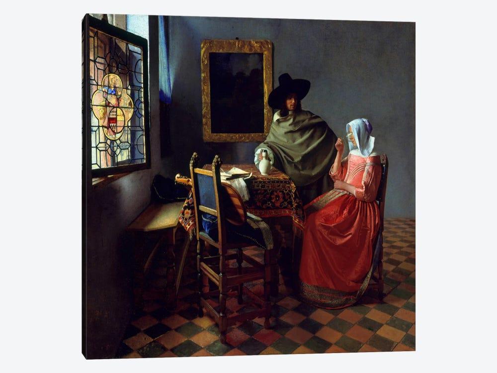 The Wine Glass by Johannes Vermeer 1-piece Canvas Artwork