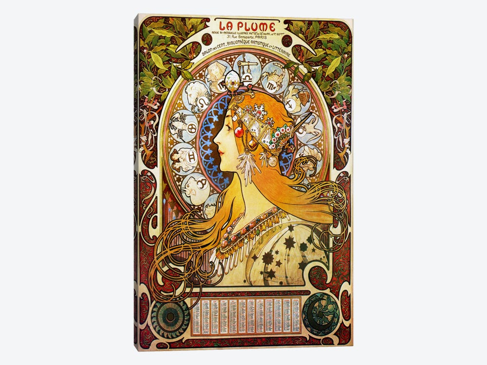 Zodiac (1896) by Alphonse Mucha 1-piece Canvas Print