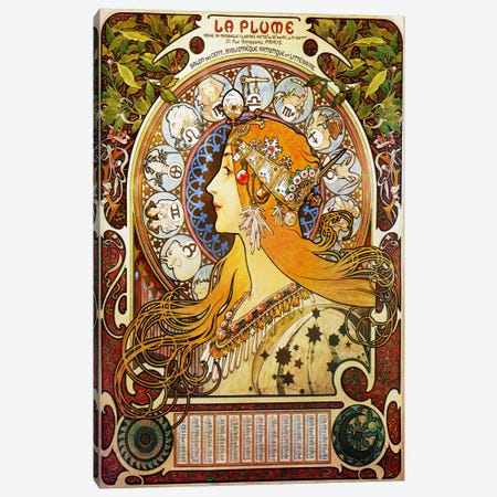 Zodiac (1896) Canvas Print #15182} by Alphonse Mucha Art Print