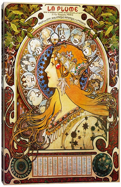 Zodiac (1896) Canvas Art Print
