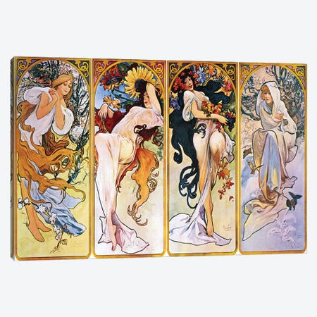 The Four Seasons (1895) Canvas Print #15185} by Alphonse Mucha Canvas Art
