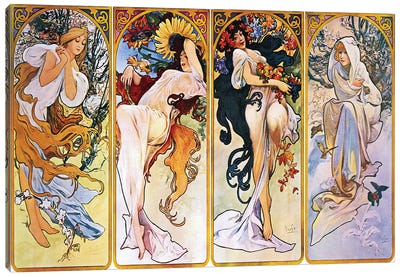 The Four Seasons (1895) by Alphonse Mucha Canvas Art