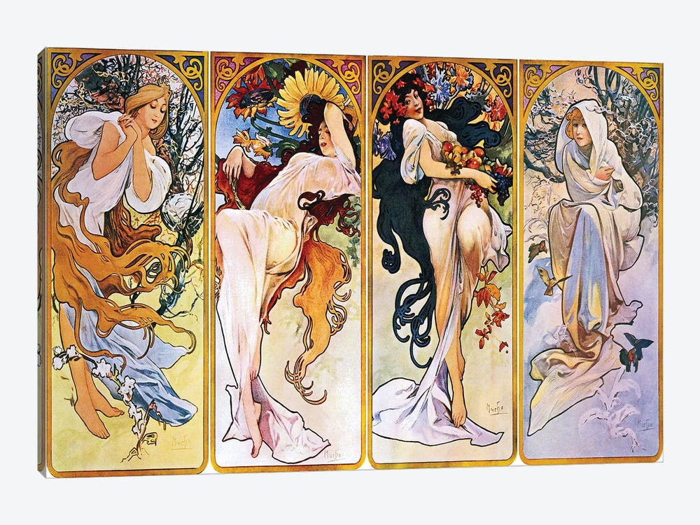 The Four Seasons (1895) by Alphonse Mucha 1-piece Canvas Artwork