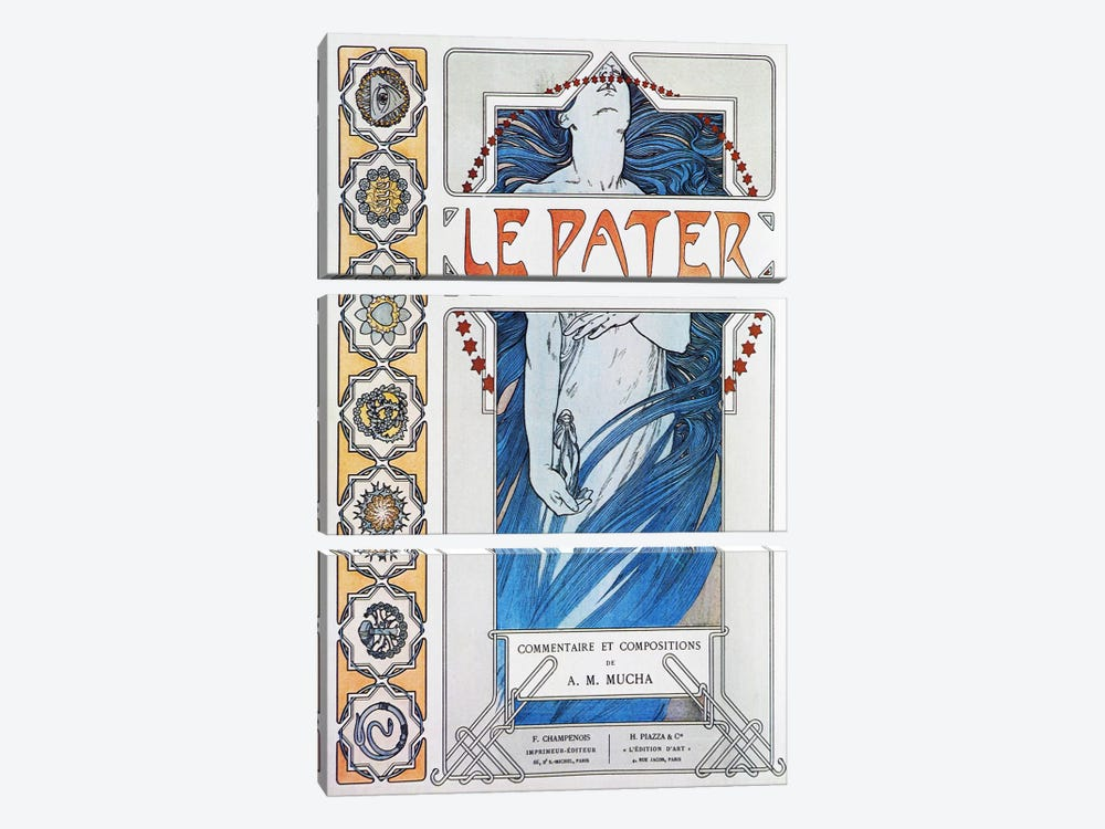 Le Pater (1899) by Alphonse Mucha 3-piece Canvas Wall Art