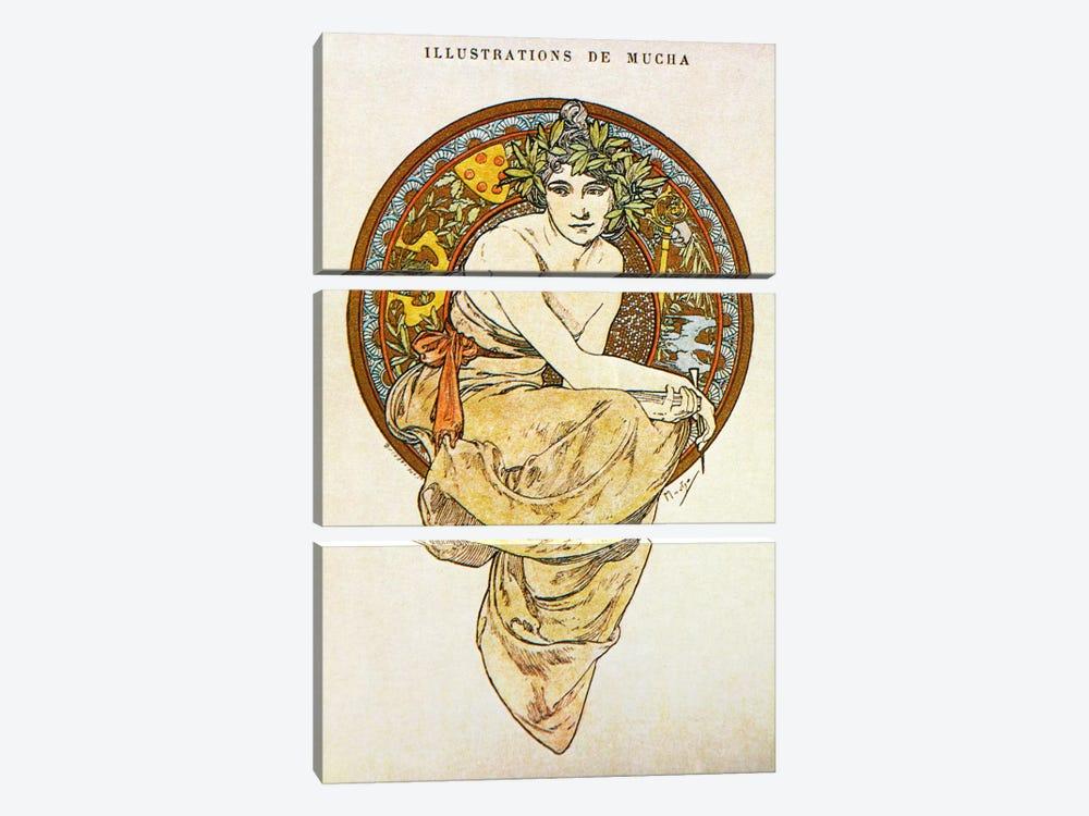 Clio (1900) by Alphonse Mucha 3-piece Canvas Artwork