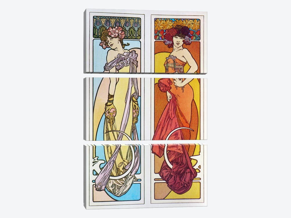 Documents Decoratifs (1902) by Alphonse Mucha 3-piece Canvas Art Print