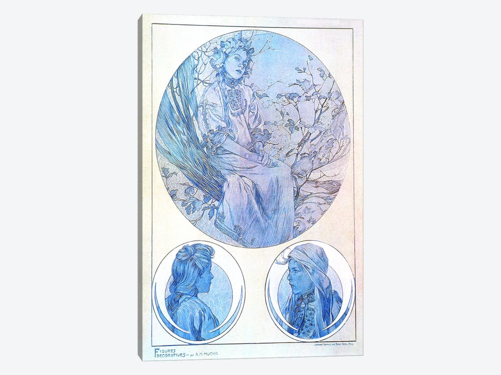 Plate 45 from 'Documents Decoratifs', 1902 by Alphonse Mucha 1-piece Canvas Artwork