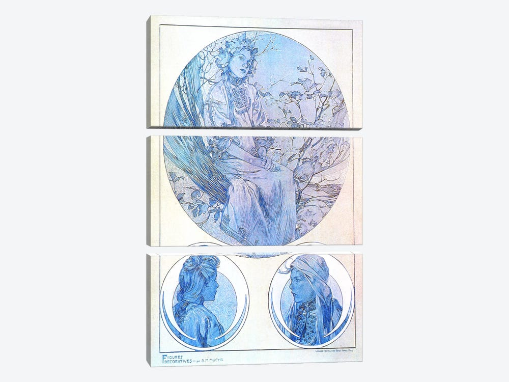 Plate 45 from 'Documents Decoratifs', 1902 by Alphonse Mucha 3-piece Canvas Art