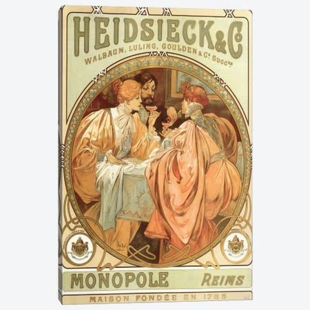 Drinking Champagne, 1785 Canvas Print #15193} by Alphonse Mucha Canvas Art