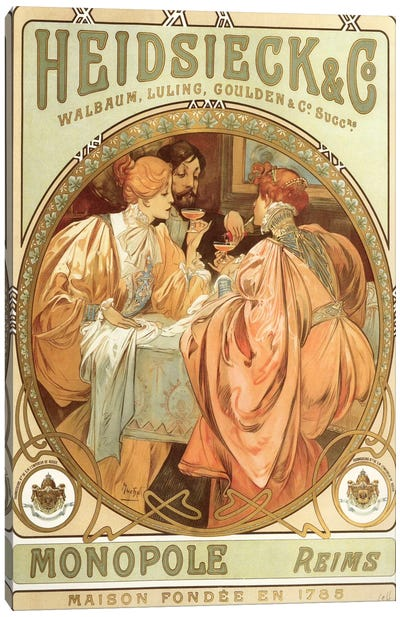 Drinking Champagne, 1785 by Alphonse Mucha Canvas Art