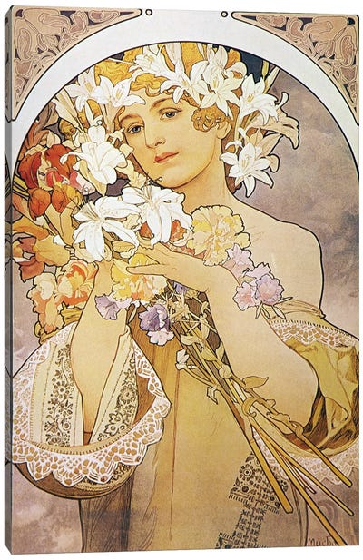 Flowers, 1897 by Alphonse Mucha Canvas Art Print