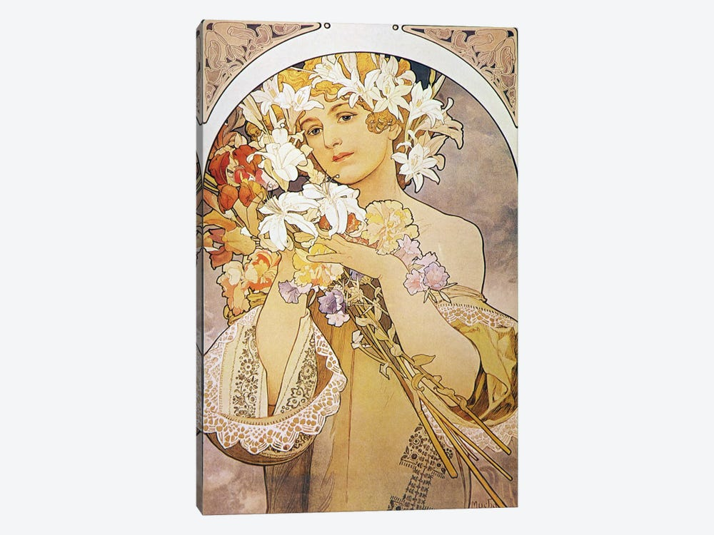 Flowers, 1897 by Alphonse Mucha 1-piece Canvas Artwork