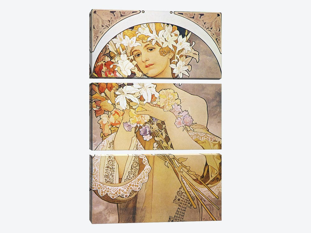 Flowers, 1897 by Alphonse Mucha 3-piece Canvas Art