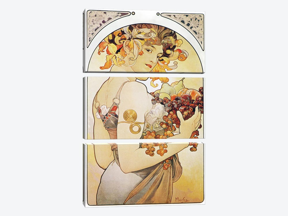 Fruit, 1897 by Alphonse Mucha 3-piece Canvas Print