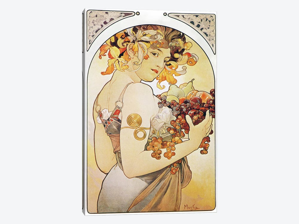 Fruit, 1897 by Alphonse Mucha 1-piece Canvas Art Print