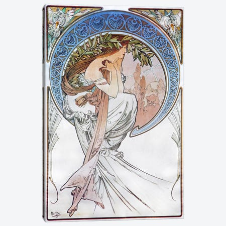 Poetry, 1898 #2 Canvas Print #15198} by Alphonse Mucha Canvas Art