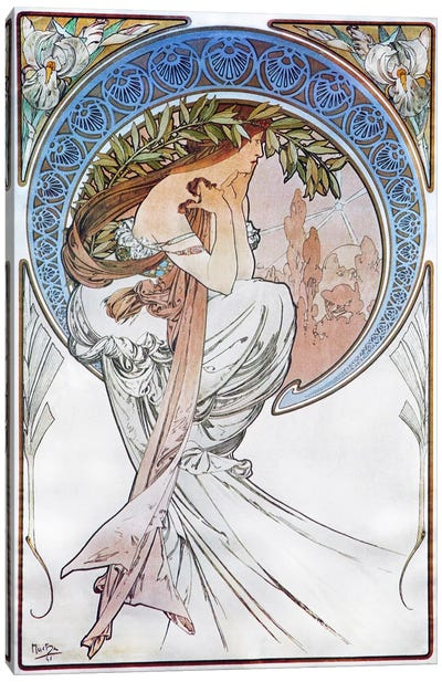 Poetry, 1898 #2 by Alphonse Mucha Canvas Art