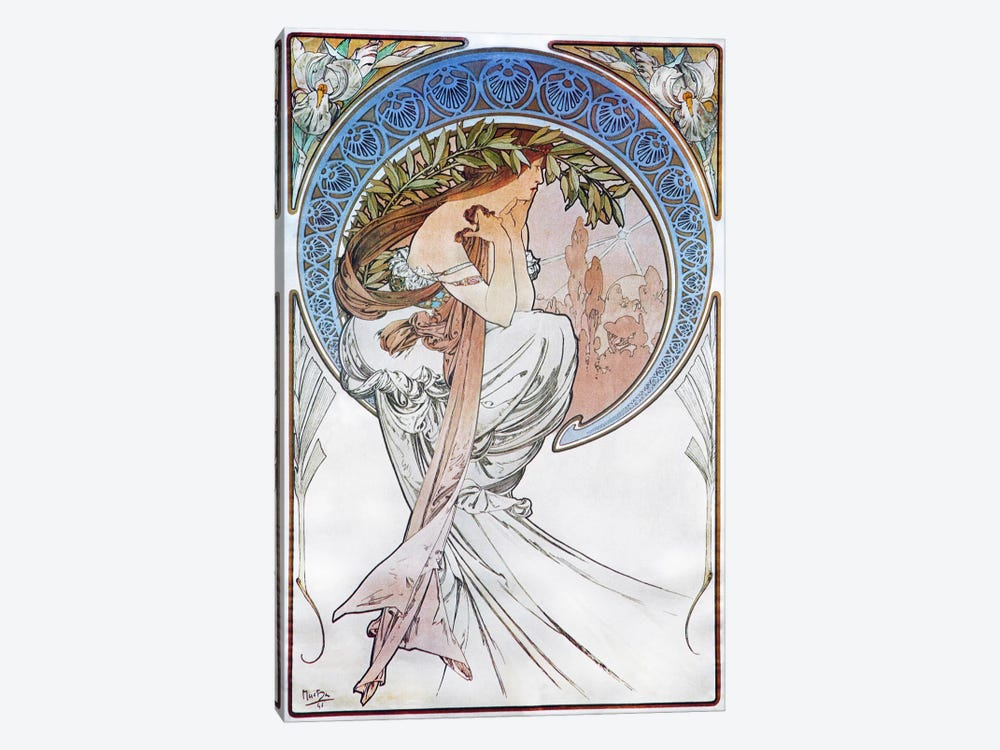 Poetry, 1898 #2 by Alphonse Mucha 1-piece Canvas Artwork