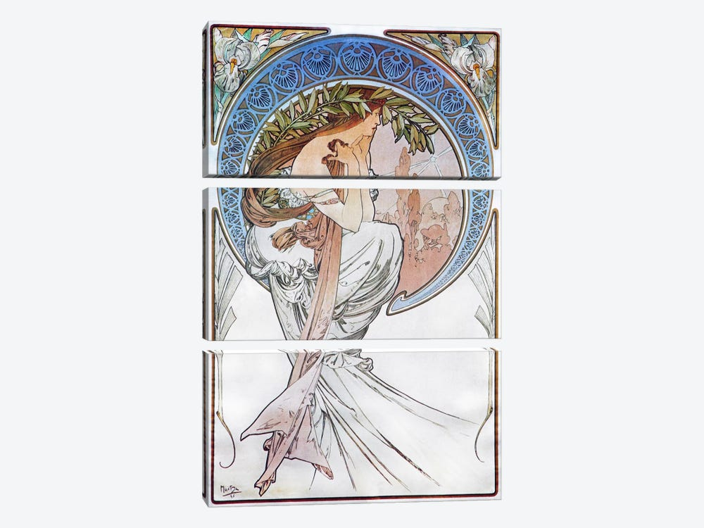 Poetry, 1898 #2 by Alphonse Mucha 3-piece Canvas Art