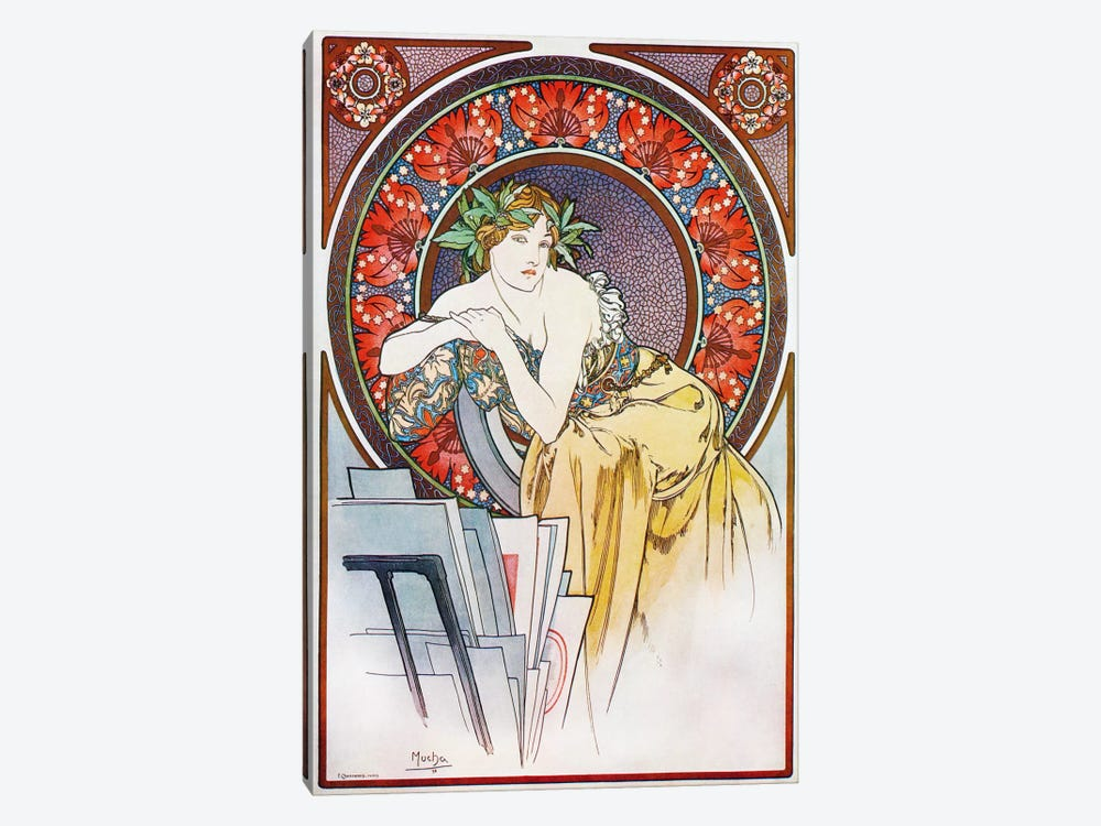Girl With Easel, 1898 by Alphonse Mucha 1-piece Art Print