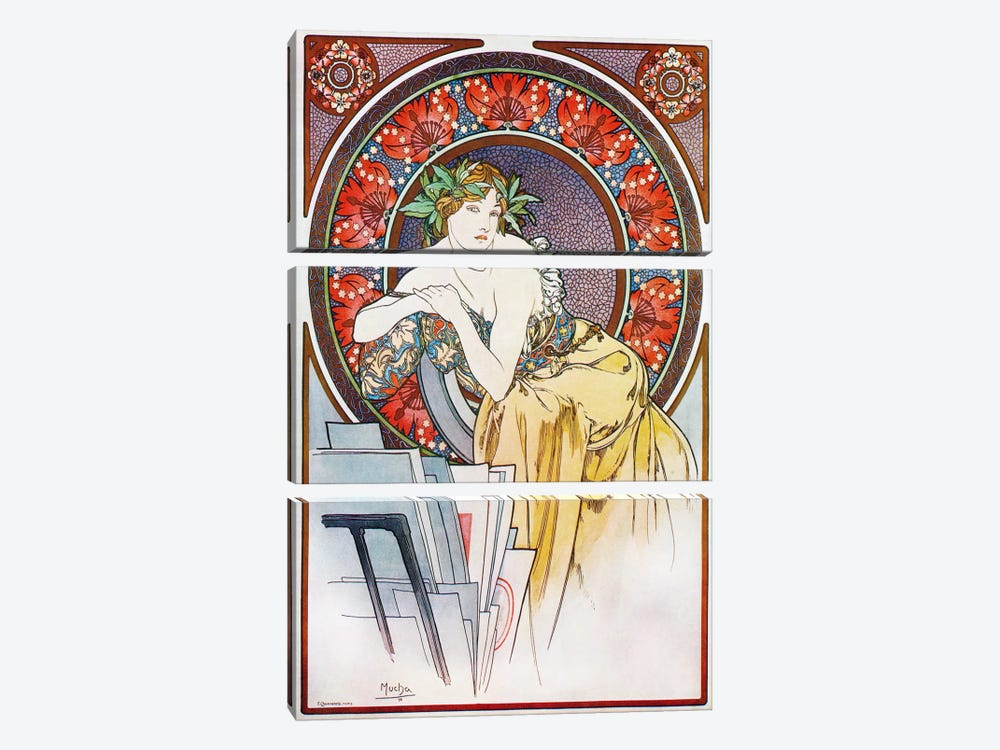 Girl With Easel, 1898 by Alphonse Mucha 3-piece Canvas Print