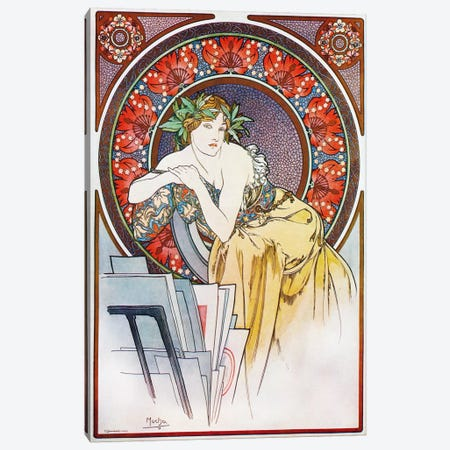 Girl With Easel, 1898 Canvas Print #15200} by Alphonse Mucha Canvas Wall Art