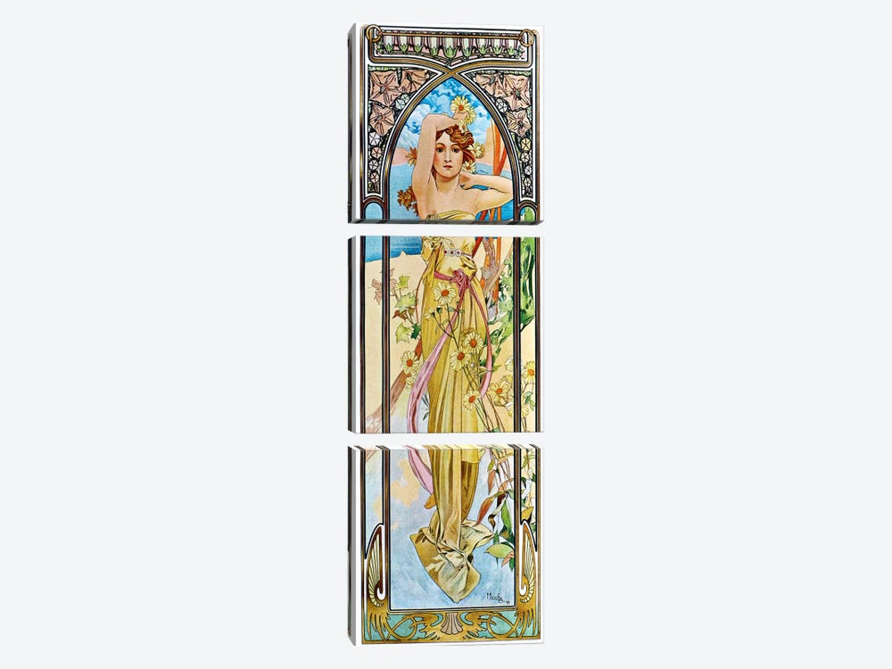 Daybreak, 1899 by Alphonse Mucha 3-piece Canvas Print