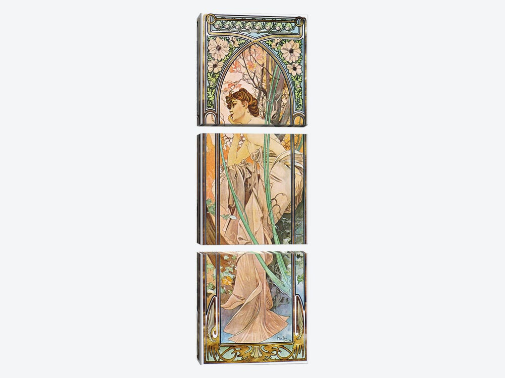 Evening Reverie, 1899 by Alphonse Mucha 3-piece Canvas Art