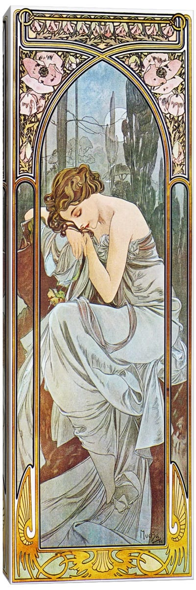 Nocturnal Slumber, 1899 by Alphonse Mucha Canvas Art Print