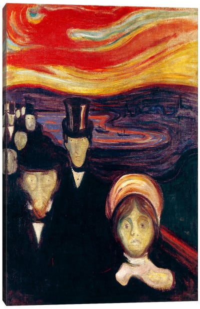 Anxiety, 1894 by Edvard Munch Canvas Wall Art