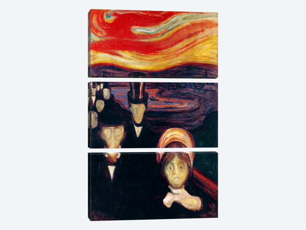 Anxiety, 1894 by Edvard Munch 3-piece Canvas Wall Art