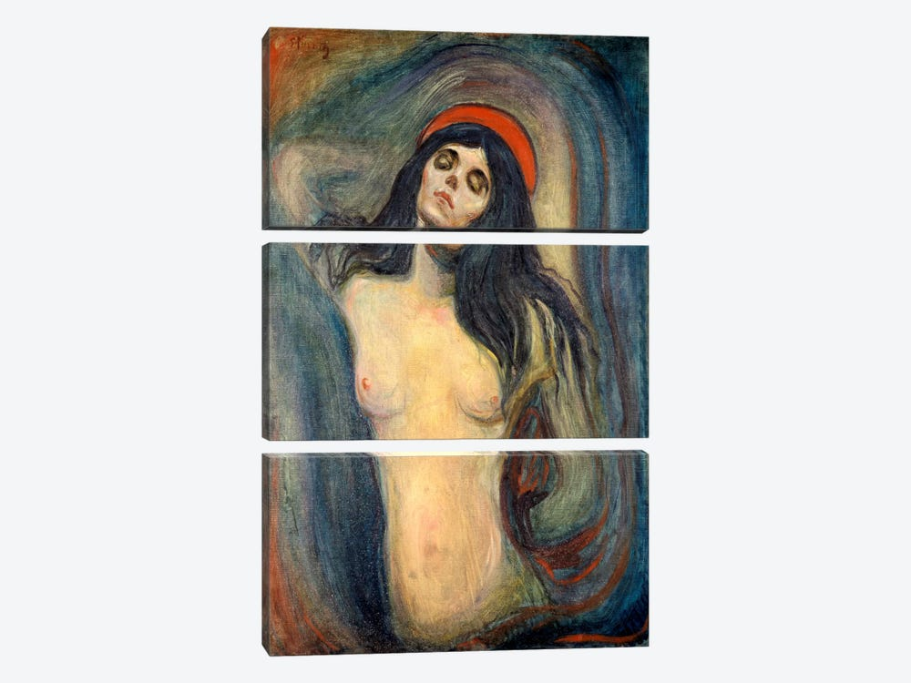 Madonna, 1895 by Edvard Munch 3-piece Canvas Print