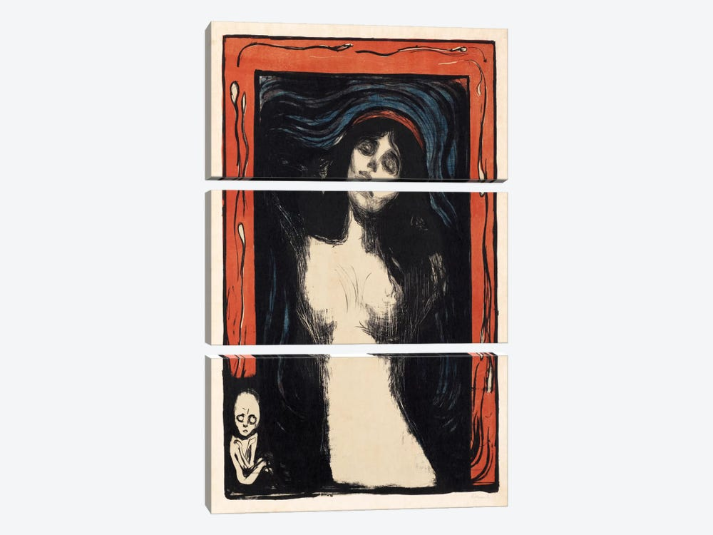 Loving Woman (Madonna), 1902 by Edvard Munch 3-piece Canvas Artwork