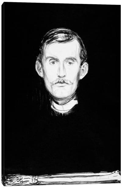 Self-Portrait, 1895 by Edvard Munch Canvas Wall Art
