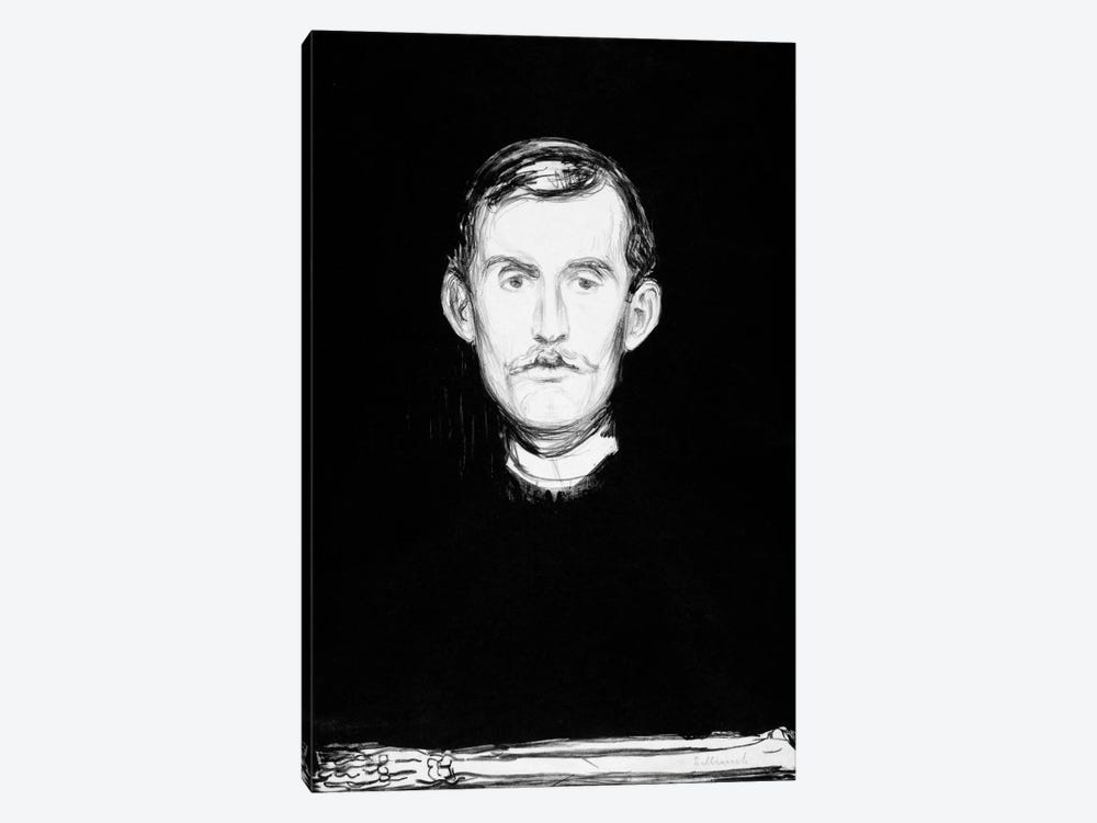 Self-Portrait, 1895 by Edvard Munch 1-piece Canvas Print