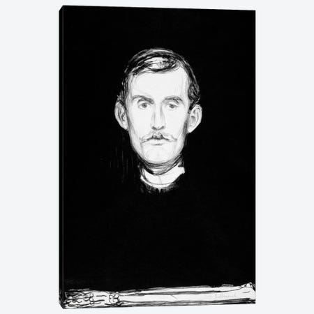 Self-Portrait, 1895 Canvas Print #15222} by Edvard Munch Canvas Wall Art