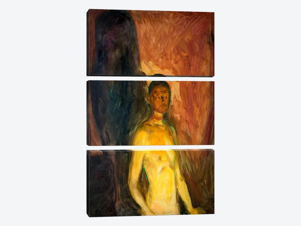 Self-Porrait in Hell, 1903 by Edvard Munch 3-piece Canvas Art