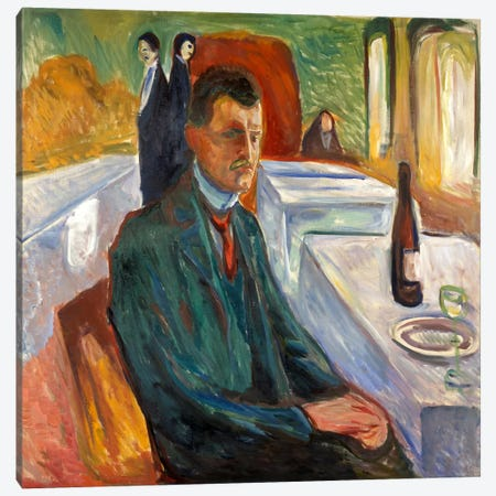 Self-Portrait with a Bottle of Wine, 1906 Canvas Print #15224} by Edvard Munch Canvas Art Print