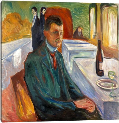 Self-Portrait with a Bottle of Wine, 1906 Canvas Art Print