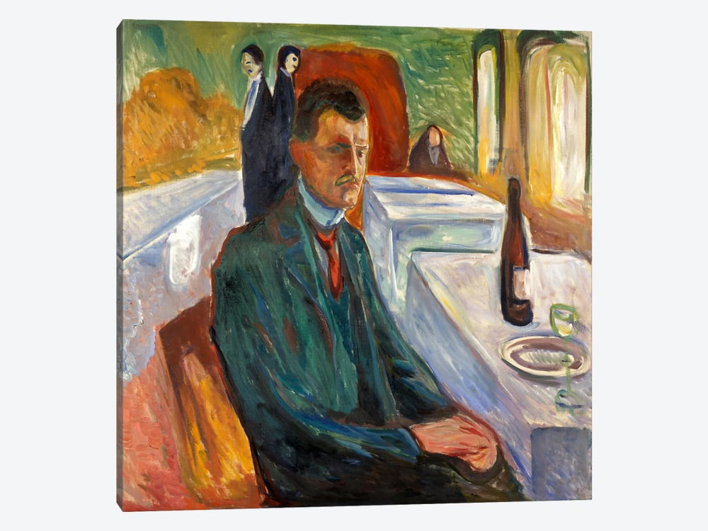 Self-Portrait with a Bottle of Wine, 1906 by Edvard Munch 1-piece Art Print