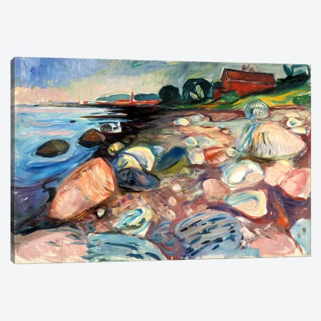 Shore with the Red House, 1904 Canvas Print #15226} by Edvard Munch Canvas Print