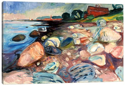 Shore with the Red House, 1904 by Edvard Munch Canvas Print
